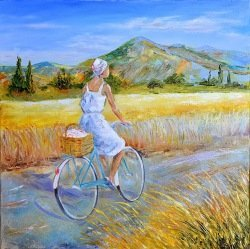 "Картина ""Велосипедная прогулка"" масло холст"