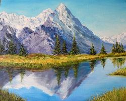 """Картина """"Озеро в горах. Альпы"""" масло холст"""