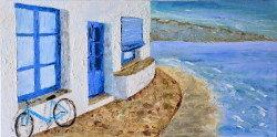 "Картина ""Велосипед на Мальорке"" масло холст"
