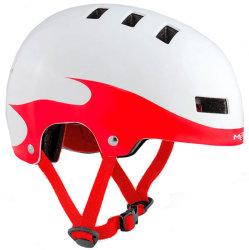 Велосипедный шлем MET YOYO white-red-flames