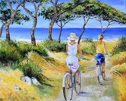 "Картина ""Поездка на пляж"" масло холст"