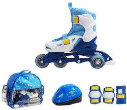 Роликовые коньки + защита SMJ Sport ZESTAW COMBO 4 колеса blue