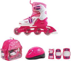 Роликовые коньки + защита SMJ Sport ZESTAW COMBO 4 колеса pink