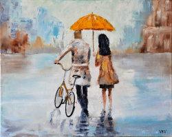 """Картина """"Трое под зонтом"""" масло холст мастихин"""