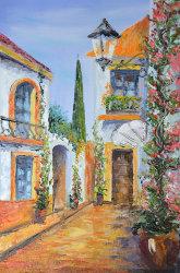 """Картина """"Уютный дворик в цветах"""" масло холст"""