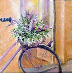 """Картина """"Велосипед с корзиной цветов"""" масло холст"""