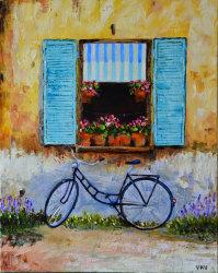 "Картина ""Велосипед у окна"" масло холст"