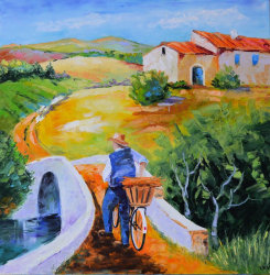 "Картина ""Велосипедист. Прованс"" масло холст"