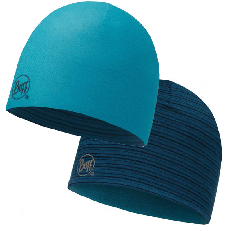 Шапка BUFF MERINO WOOL REVERSIBLE HAT solid blue capri BU 113581.718.10.00
