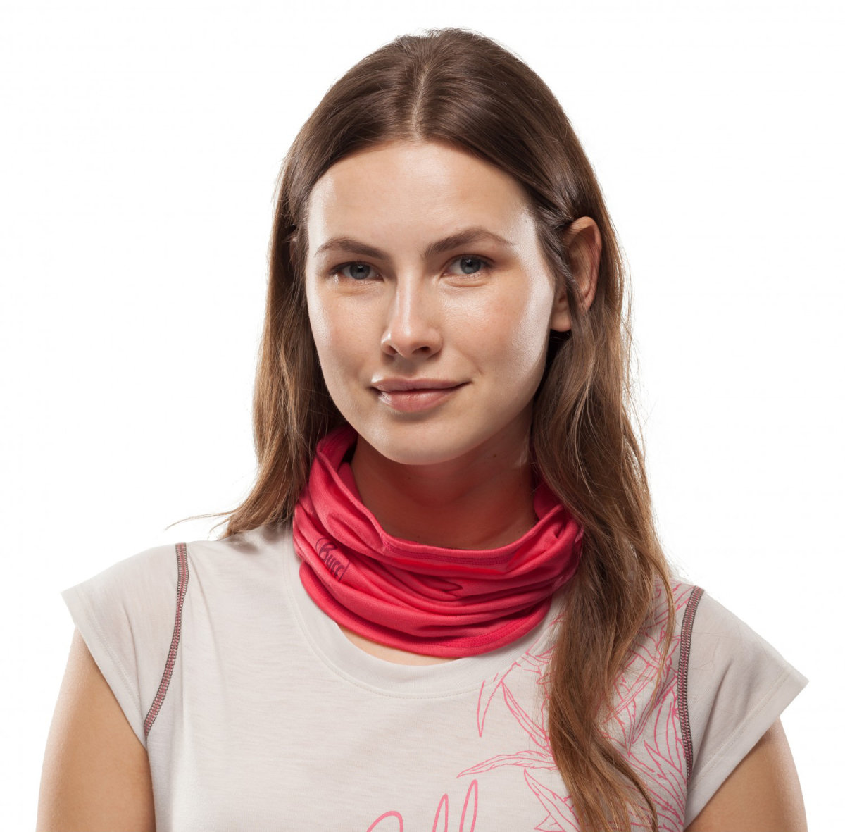 Бандана BUFF 3/4 LIGHTWEIGHT MERINO WOOL coral stripes 1 BUFF 3/4 LIGHTWEIGHT MERINO WOOL solid coral BU 117006.506.10.00