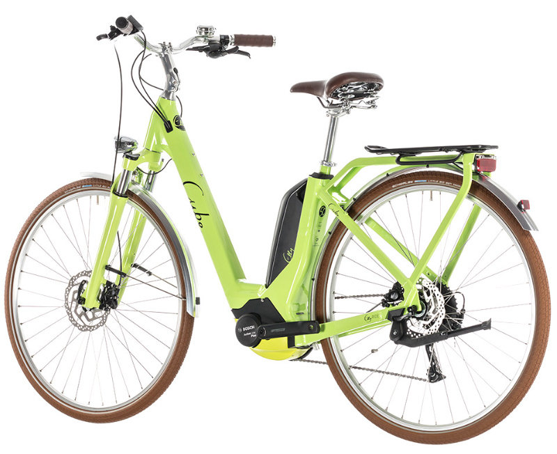 Электровелосипед Cube ELLY RIDE HYBRID 500 green-black Cube Elly Ride Hybrid 500 green n black side